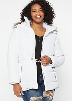 Plus White Cinched Fur Trim Puffer Coat