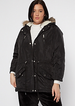 Plus Black Faux Fur Hooded Puffer Jacket