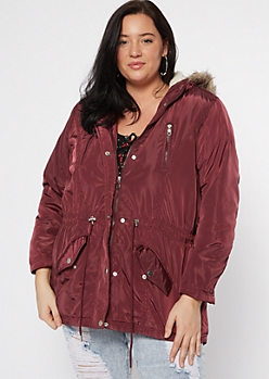 Plus Burgundy Faux Fur Hooded Puffer Jacket