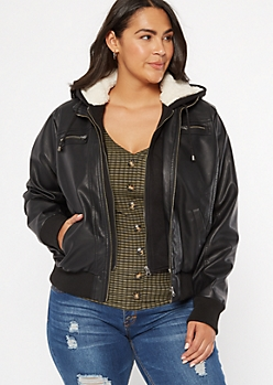 Plus Black Sherpa Lined Hooded Faux Leather Jacket