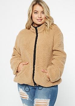 Plus Brown Sherpa Zip Up Jacket