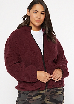 Plus Burgundy Sherpa Zip Up Jacket