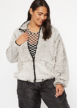Plus Gray Sherpa Zip Up Jacket