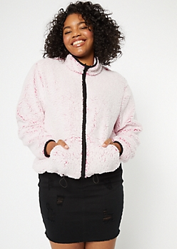 Plus Fuchsia Sherpa Zip Up Jacket