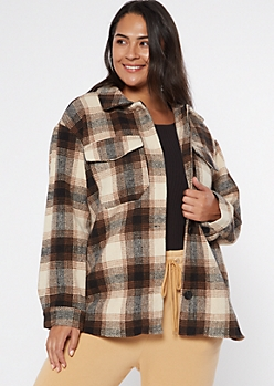 Plus Brown Plaid Wool Shirt Jacket