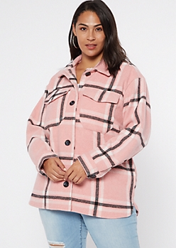 Plus Pink Plaid Wool Shirt Jacket