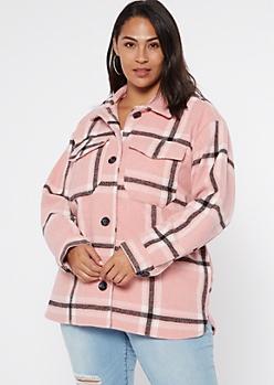 Plus Pink Plaid Wool Shirt Jacket
