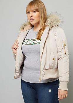 Plus Pink Faux Fur Hood Bomber Jacket