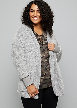 Plus Light Gray Faux Fur Open Front Hooded Jacket