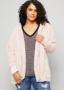 Plus Pink Faux Fur Open Front Hooded Jacket
