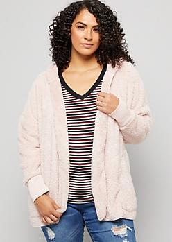 Plus Pink Faux Fur Open Front Hooded Jacket