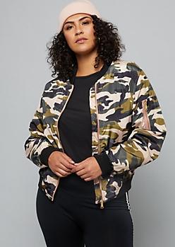 Plus Pink Camo Print Slick Woven Bomber Jacket