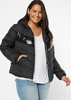 Plus Black Reflective Stripe Puffer Jacket