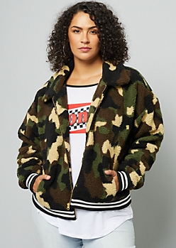Plus Camo Print Varsity Striped Sherpa Bomber Jacket