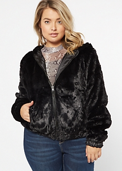 Plus Black Faux Fur Zip Up Hoodie