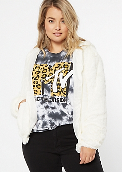 Plus Ivory Faux Fur Zip Up Hoodie