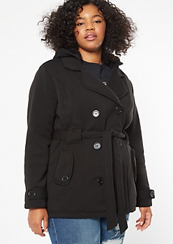 Plus Black Sherpa Tie Front Peacoat