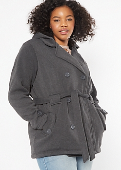 Plus Charcoal Gray Sherpa Tie Front Peacoat