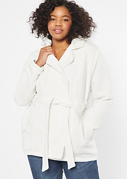 Plus Cream Sherpa Tie Front Peacoat