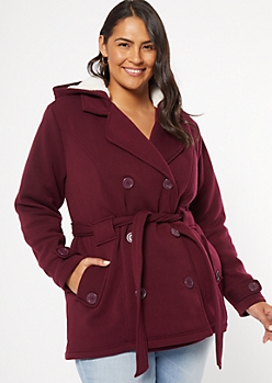 Plus Burgundy Sherpa Tie Front Peacoat