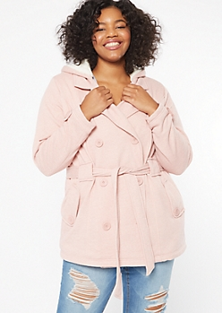 Plus Heathered Pink Sherpa Tie Front Peacoat