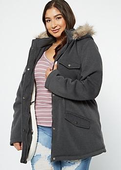 Plus Gray Sherpa Fur Hooded Peacoat