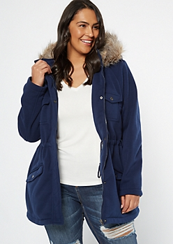 Plus Navy Sherpa Fur Hooded Peacoat