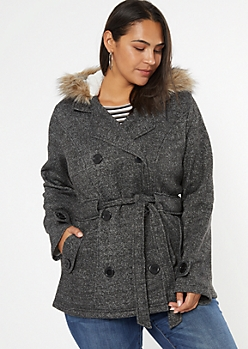Plus Gray Faux Fur Hood Fleece Double Button Coat