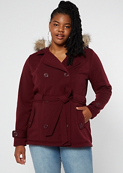 Plus Burgundy Faux Fur Hood Fleece Double Button Coat