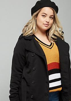 Plus Black Fleece Tie Front Hooded Peacoat