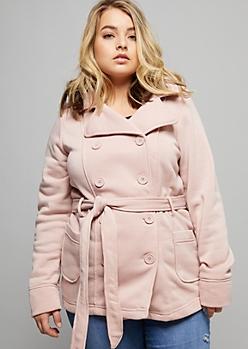 Plus Pink Fleece Tie Front Hooded Peacoat
