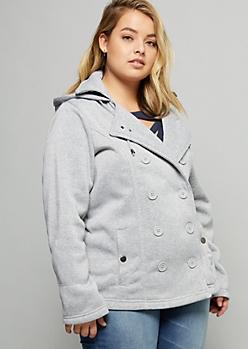 Plus Gray Drawstring Hooded Fleece Peacoat