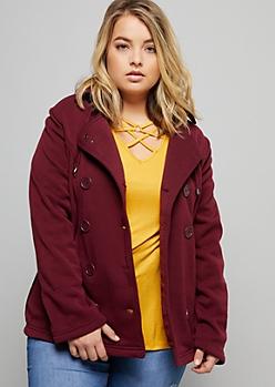 Plus Burgundy Drawstring Hooded Fleece Peacoat