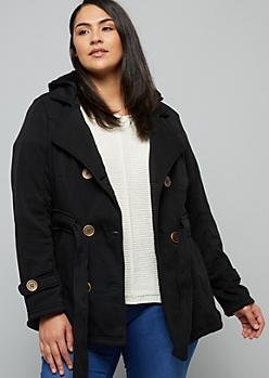 Plus Black Faux Fur Lined Tie Front Peacoat