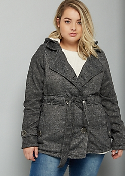 Plus Gray Marled Faux Fur Lined Tie Front Peacoat