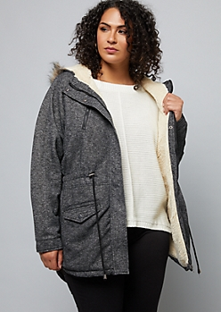 Plus Heathered Black Faux Fur Trim Knit Anorak Jacket
