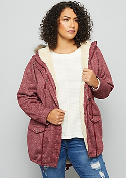 Plus Heathered Burgundy Faux Fur Trim Knit Anorak Jacket