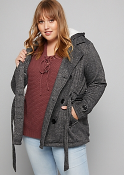 Plus Gray Faux Fur Lined Double Breasted Knit Peacoat