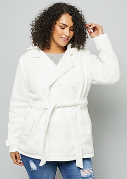 Plus Cream Faux Fur Lined Double Breasted Knit Peacoat