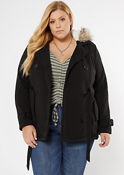 Plus Black Faux Fur Hooded Fleece Coat