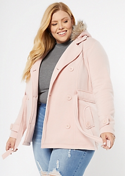 Plus Pink Faux Fur Hooded Fleece Coat