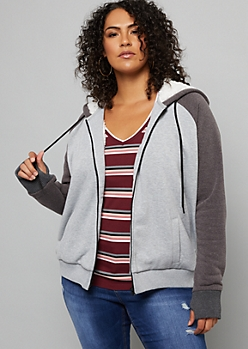 Plus Gray Sherpa Lined Zip Up Hoodie
