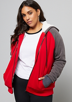Plus Red Sherpa Lined Zip Up Hoodie