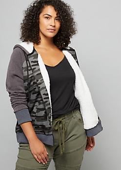 Plus Camo Print Sherpa Lined Zip Up Hoodie