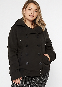 Plus Black Fleece Double Breasted Short Peacoat