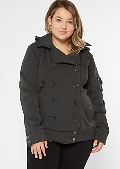 Plus Charcoal Fleece Double Breasted Short Peacoat