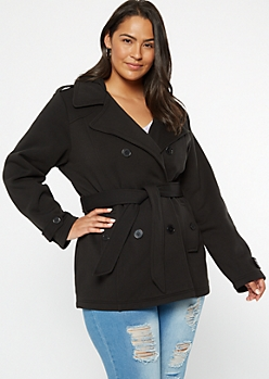 Plus Black Soft Knit Fleece Lined Peacoat