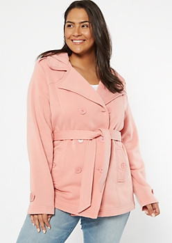 Plus Pink Soft Knit Fleece Lined Peacoat