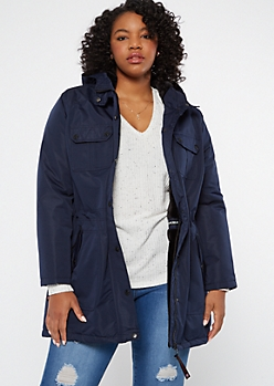 Plus Navy Utility Hooded Anorak Coat