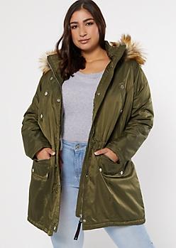Plus Olive Faux Fur Trim Hood Anorak Coat